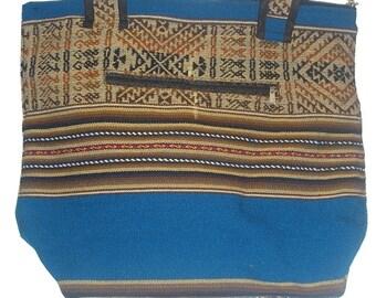 """Turquoise shoulder bag fabric """"Aguayo"""" / shopping bag / bag boho, etnic / indigenous of Bolivia"""