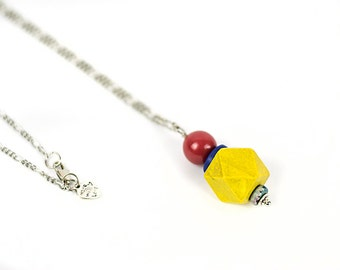 Yellow red necklace Long wood necklace Pendant necklace Red blue ceramic necklace Boho necklace Handpainted jewelry Everyday jewelry