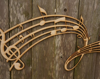 Music Notes wood cut sign