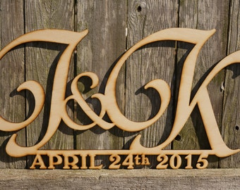 Wedding / Anniversary Initials and Date personalized wood cut sign