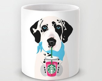 Personalized mug cup designed PinkMugNY- I love Starbucks - Harlequin Great Dane