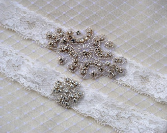 Crystal Garter Set, Wedding Garter Set Ivory, Bridal Garter Set, Vintage Wedding, Lace Garter, Crystal Rhinestone Garter and Toss Garter Set