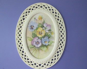 Oval Home Interiors Colorful Picture of Pansies with Open Weave Faux Wicker Frame with Homco Art 80s wall hanging Pansy picture Pansy print