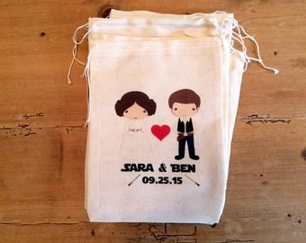 "10 Wedding Star Wars Inspired Gift Party Favor Bags. Set of 10 - 3x5, 4x6, 5x7, 6x8 7x9 7x11"". Geek Wedding. Drawstring Personalized"
