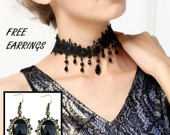 Romantic Black Lace Choker Necklace, Gothic Choker & Earrings Set
