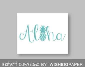ALOHA Wall Art-Instant Download. Aloha Print. Typography Art. Pineapple Print. Pineapple Wall Art. Pineapple Aloha. Summer Print. Art