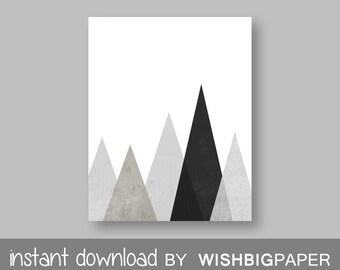 Beige Gray Black Mountain Wall Art Print. Instant Download. Gray Black Printable Art. Neutral Art, Modern Decor. Neutral Geometric. Home Art