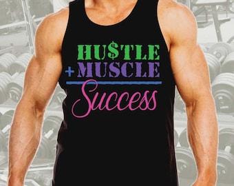 New Men's Hustle + Muscle Success Tank Top All size XS-3XL Black