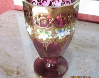 Cranberry Glass Goblet  (Buyer pay for shipping)