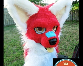 Custom Fursuit Head--Choose Up to 2 colors of fur, resin blank, Simple/ Basic designs, FURRY, CAT, FURSUIT, Resin blank, fursuit head base