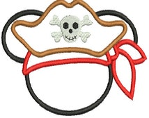 Machine Embroidery Design Mickey Pirate Applique 4x4, 5x7 and 6x10 Hoop