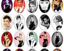 050 B - CAMEOS - Audrey Hepburn- Digital Collage Sheet 4 X 6 Inch  (300 Dpi - Adobe PDF + JPG)