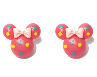 """Handmade Confetti Minnie"""" Bright Pink Minnie Mouse Earrings with Blue and Yellow Dots and Pink Bow"""