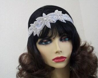 Bridal Headpiece, Great Gatsby Bride, Rhinestone Headband, Wedding Headpiece, Beaded Headpiece, Bridal Hair Accessories, Wedding Accessory