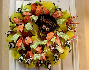 ON SALE! Halloween Wreath, Spider Wreath, Lighted Halloween Wreath, Holiday Wreath, Lighted Holiday Wreath
