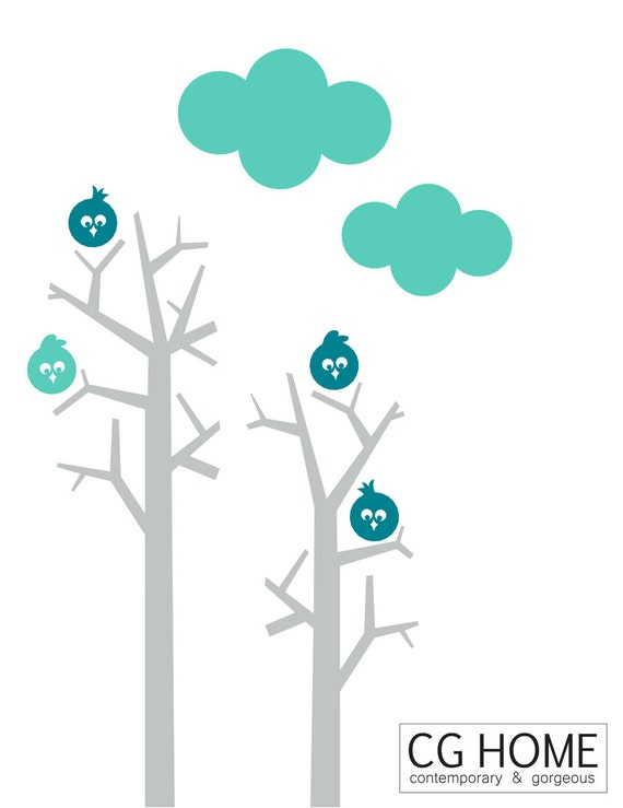 wallsticker TREE for kids angry happy birds wall DECAL birdie cloud FOREST vinyl decoration multicolor CGhome