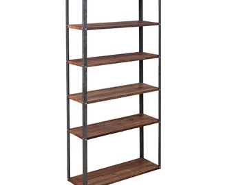Modern Industrial Shelving Unit / Bookshelf with Reclaimed Redwood and Steel