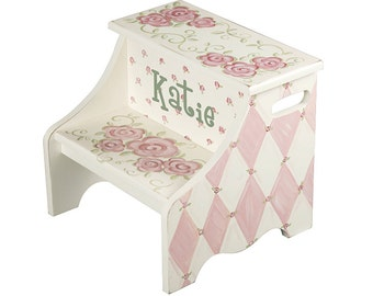Girls step stool - pink flower and diamond pattern - personalized gift for girl - unique baby nursery decoration - shabby chic