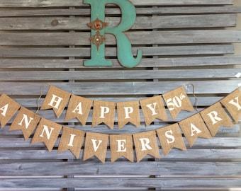 Happy Anniversary Burlap Banner, Happy Anniversary Sign, Happy Anniversary Party, Happy Anniversary