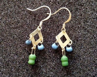 Blue and Green Inductor Earrings