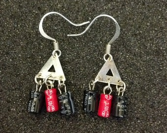Red and Black Capacitor Earrings