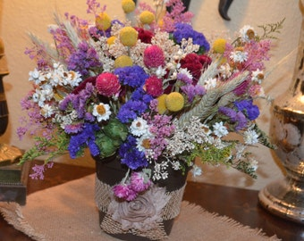 Dried Flower Arrangement with Colorful Pink Purple Yellow and Ivory Dried Flowers