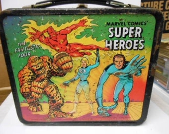 Marvel Super Heroes rare vintage metal Lunch box 1970s