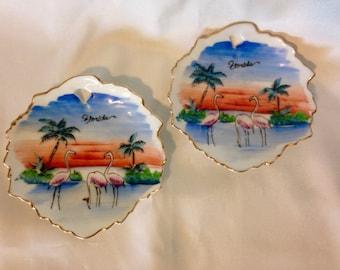 Vintage Souvenir Florida Plates Flamingo Empress