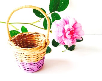 BABY BASKET -- Pastel Nature -- Wicker, purple, vegetable fibers, handpainted by SophieLDesign