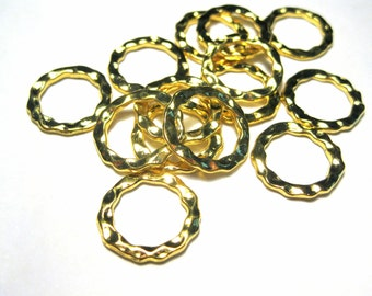 10pcs Gold Tone Links Rings 17mm Round Hammered Flat Link Connetcor Rings