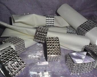 Table Setting,Rhinestone ribbon,Napkin Rings,Bling.