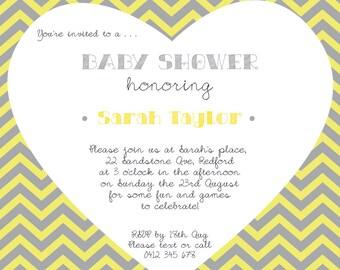 Gender-Neutral Baby Shower Invitation | Yellow and Grey Chevron, Love Heart