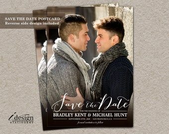 Gay Wedding Photo Save The Date Postcards, DIY Printable Wedding Announcements Save The Date Cards, Double Sided Picture Save The Dates