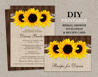 Rustic Country Sunflower Bridal Shower Invitation With Recipe Card, DIY Printable Burlap Wedding Shower Invitations And Recipe Cards