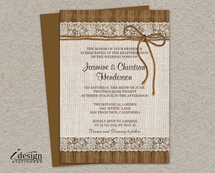 diy printable rustic vow renewal invitations with burlap and,