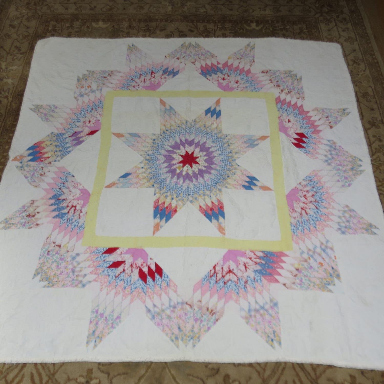 Antique Star Of Bethlehem Quilt Vintage Handmade Primitive