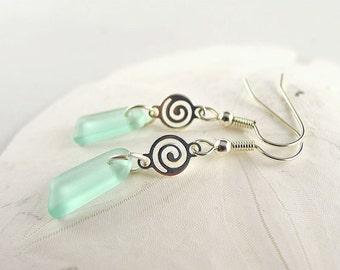 Coke sea foam dangle earrings sea glass earrings seaglass earrings seaglass jewelry sea glass jewelry handmade jewelry beach glass gifts