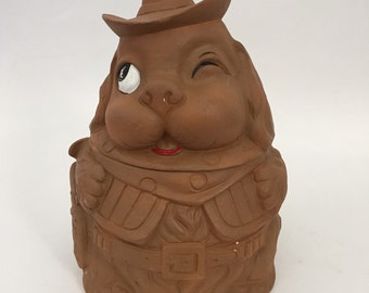 Dog Cookie Jar, Brown Sheriff Dog, Twin Winton Style, 1950s Cookie Jar