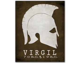 Virgil Aeneid - Founding Rome Conquer Troy Burning City Greek Herlmet Civilization Classroom Book Art Book Lover Gift Idea Roman Author