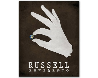 Bertrand Russell History Western Philosophy - Hand Grabbing Planet Earth Literary Gift For Writers Bookish Decor English Author
