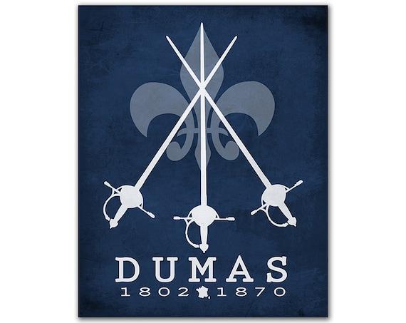 Alexander Dumas Three Musketeers - Literary Gift For Writers Fleur De Lis Swords Athos Porthos Aramis D'Artagnan French Author