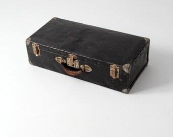 vintage 30s black metal suitcase luggage