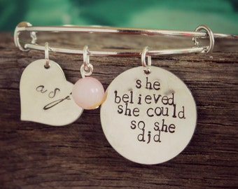 Personalized Silver Bangle, She Believed She Could So She Did Hand Stamped Bracelet, Personalized Bangle, Graduation Gift