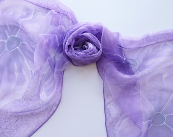 "Hand painted silk scarf. Handpainted silk chiffon scarf. Purple silk chiffon scarf with purple flowers. 15 x 60"", 40 x 150 cm."