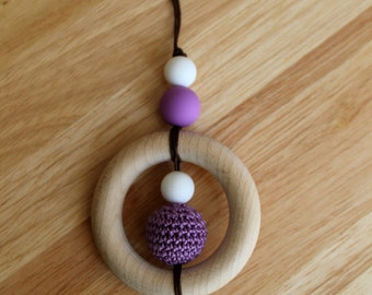 Nursing necklace with wooden ring and crochet bead. 'SATURN' (Purple). Teething/fiddle necklace