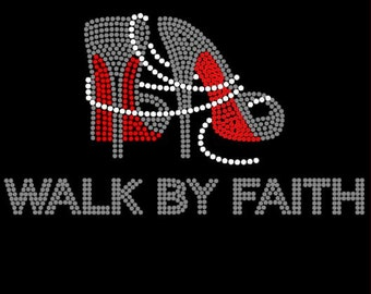 Walk by Faith|High Heels|Pearls|Red Bottoms|Bling Shoes|Rhinestone T-shirt