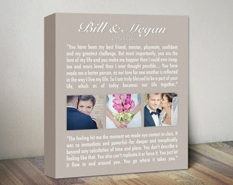 Personalized Wedding Vows Gift, Wedding Vows Canvas, Wedding Vows Anniversary Canvas Artwork, Anniversary Gift, Custom Vows & Photo Wall Art