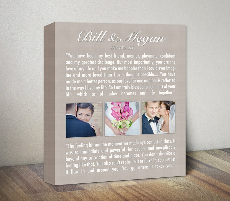 Personalized Wedding Vows Gift Wedding Vows Canvas Wedding