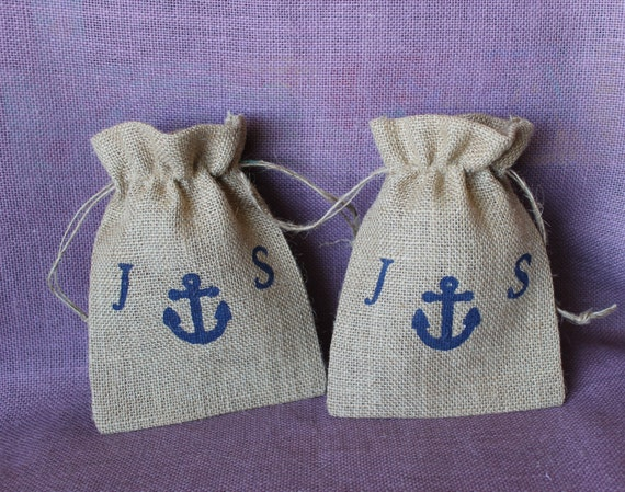 Personalized Burlap Wedding Favor Bags. 5 X 7 Burlap Anchor