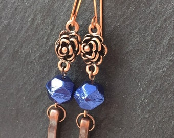 Blue and copper, long earrings, spike earrings, dangly earrings, blue earrings, copper earrings, handmade earrings, gift for her, handmade